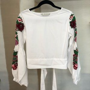 Zara white shirt with red embroidery details in XS